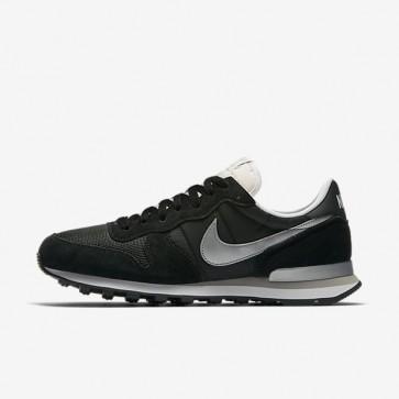 Hommes Chaussures Nike Internationalist 828041-003 Noir, Blanc, Flat Argent, Argent métallique
