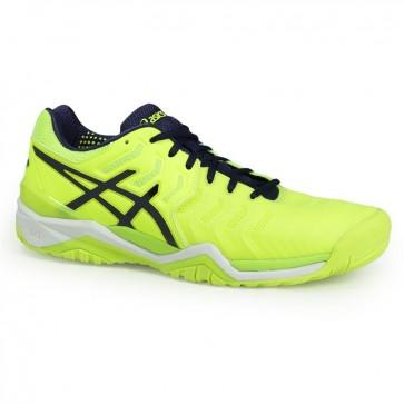 Asics Gel Resolution 7 - Homme Chaussures de tennis Jaune, Bleu, Blanc