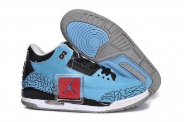 Hommes Air Jordan 3 Baby, Bleu, Noir Chaussures de sport