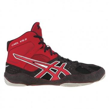Asics Cael V6.0 Chaussures de lutte Femme - Charbon, Rouge feu, Argent
