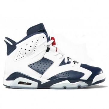 Air Jordan Retro 6 Olympic 2012 Blanc, La marine de minuit, Rouge (Femmes, Hommes) Chaussures