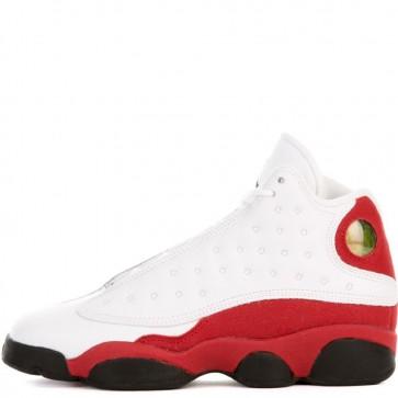 Air Jordan 13 Retro BG Hommes Blanc / Noir / Vrai Rouge / Gris froid