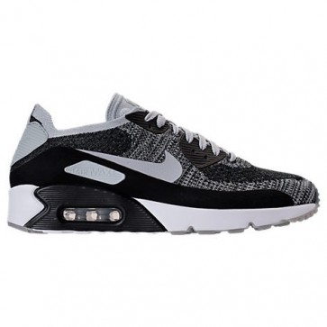 Homme Nike Air Max 90 Ultra 2.0 Flyknit Noir / Wolf Gris / Platine pure Chaussures 875943 005