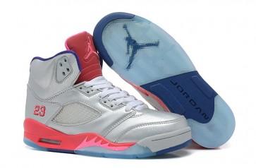 Nike Air Jordan 5 V Retro Femmes Chaussures Argent, Rose