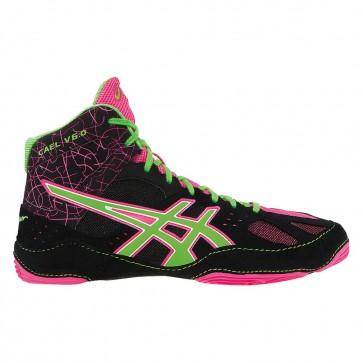 Femmes Asics Cael V6.0 Chaussures de lutte - Noir, Gecko vert, Knockout Rose