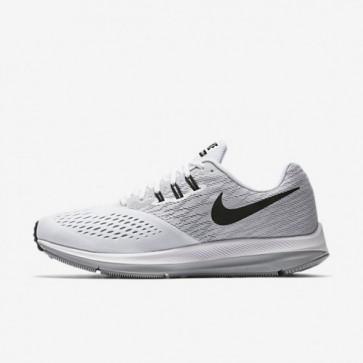 Nike Zoom Winflo 4 Hommes Chaussures de sport - Blanc / Wolf Gris / Noir 898466-100