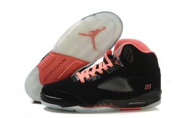 Nike Air Jordan 5 Femme Retro Noir / Rose / Argent Chaussures de course
