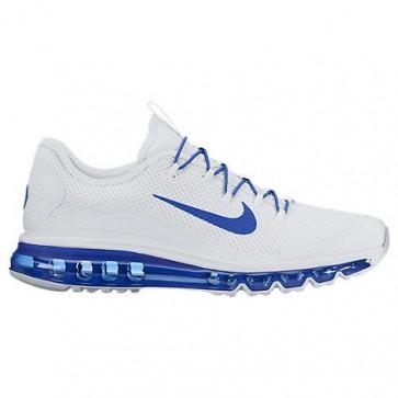Hommes Nike Air Max More - Chaussures de course Blanc / Jeu Royal / Blanc 898013 101
