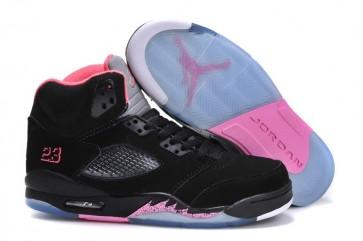 Nike Air Jordan 5 Retro Noir, Rose Femme Chaussures