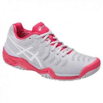 Glacier Gris / Blanc / Rouge Asics Gel Resolution 7 Femmes Chaussures de tennis
