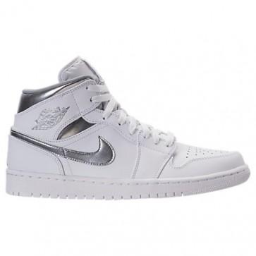 Homme Chaussure de basketball Air Jordan Retro 1 Mid Retro 554724 105 Blanc / Argent métallique