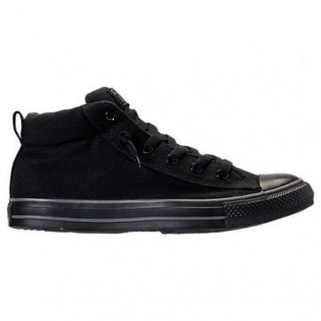 Hommes Tout Noir Chaussures de course Converse Chuck Taylor All-Star Street Mid 138465F 001