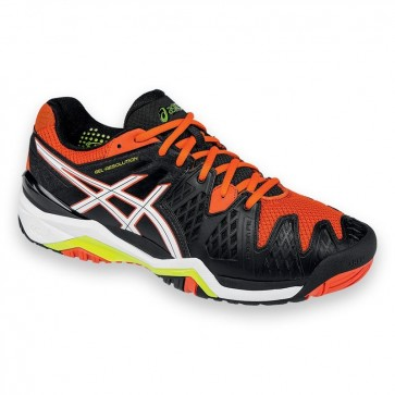 Asics Gel Resolution 6 - Homme Chaussures de tennis Noir, Blanc, Orange, Jaune