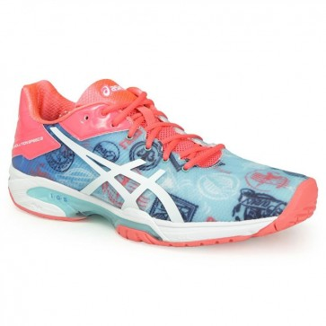 Limited Edition Paris Asics Gel Solution Speed 3 Femmes Chaussures de tennis Diva Bleu / Blanc / Diva Rose