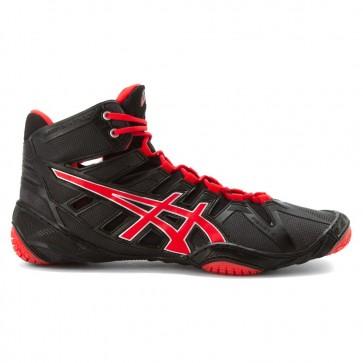 Femme Asics Omniflex Attack Chaussures de lutte - Noir / Rouge Pepper / Argent