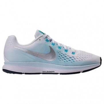 Femmes Nike Air Zoom Pegasus 34 Chaussures de running 880560 104 Blanc, Argent métallique, Glacier Bleu