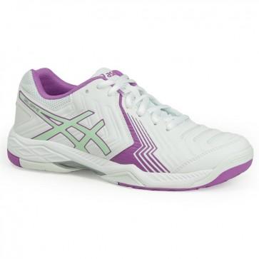 Asics Gel Game 6 Femmes Chaussures de tennis Blanc, Paradise Vert, Campanula