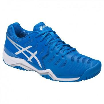 Asics Gel Resolution 7 Hommes Chaussures de tennis - Directeur Bleu, Argent, Blanc