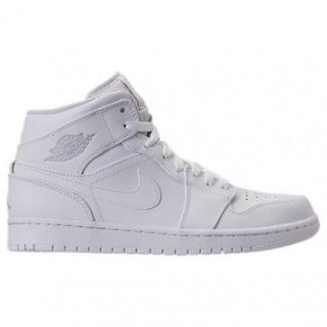 Hommes Air Jordan Retro 1 Mid Retro Chaussures de sport Blanc, Platine pure, Blanc 554724 104