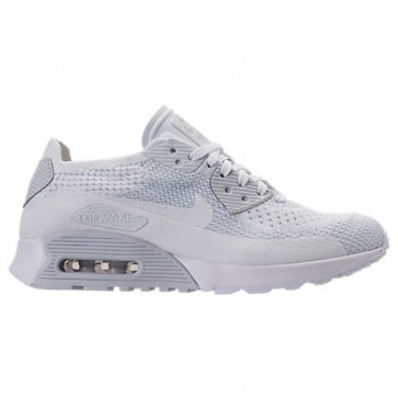 Blanc / Platine pure Femme Nike Air Max 90 Ultra 2.0 Flyknit Chaussures 881109 104