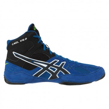 Femme Asics Cael V6.0 Chaussures de lutte Bleu électrique, Noir, Lime