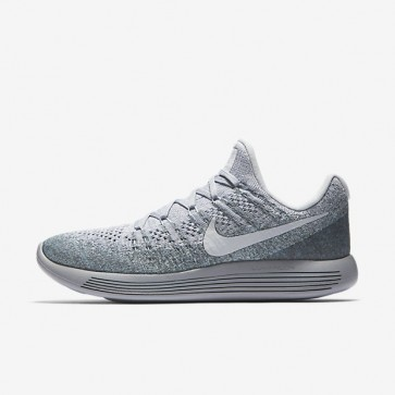 Hommes Nike LunarEpic Low Flyknit 2 Chaussures Platine pure / Blanc / Wolf Gris / Glacier Bleu 863779-008