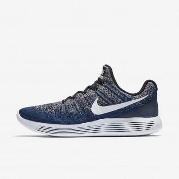 Nike LunarEpic Low Flyknit 2 Hommes Chaussure Bleu, Noir, Bleu Royal Profond, Blanc 863779-007