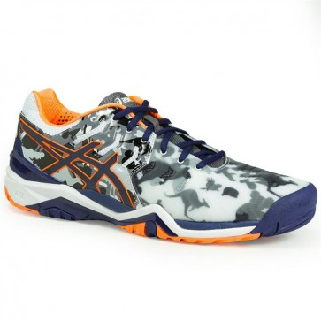 Gris / Navy / Orange Asics Gel Resolution 7 Limited Edition Melbourne Homme Chaussures de tennis