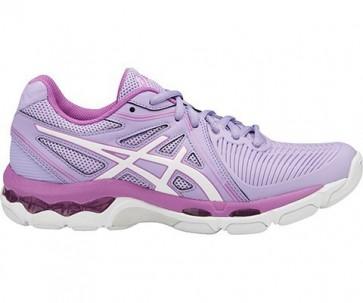 Femme Asics Gel Netburner Ballistic Chaussures Netball Lavande, Blanc, Campanule