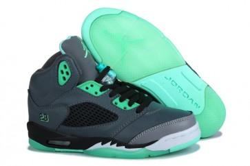 Air Jordan 5 Retro Homme Chaussures de course Gris et Vert