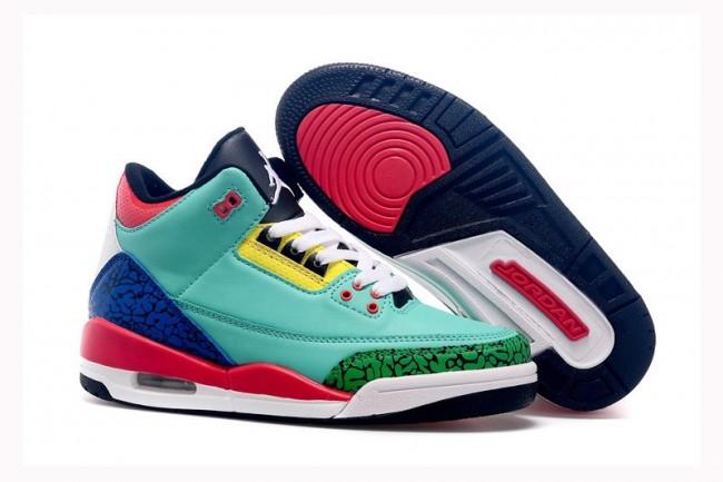 separation shoes e27dd ae335 Air Jordan 3 Femme Chaussures Bleu, Vert, Bleu, Rose