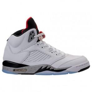 Homme Air Jordan Retro 5 Chaussure de basket Blanc / Université Rouge / Noir Matte 136027 104