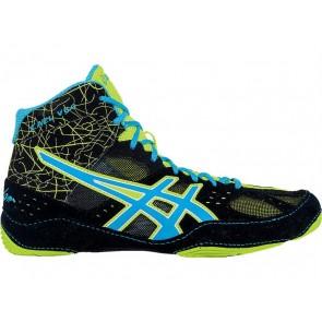 Asics Cael V6.0 Chaussures de lutte Hommes V8J8I Noir, Atomic Bleu, Flash Jaune