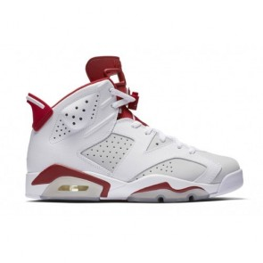 Air Jordan 6 Retro Hommes Chaussures Blanc / Platine pure / Rouge