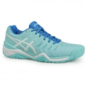 Aqua Splash / Blanc / Diva Bleu Asics Gel Resolution 7 Femme Chaussures de tennis