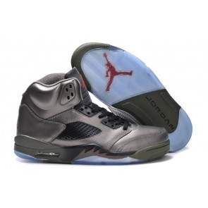 Air Jordan 5 Retro Rouge feu, Olive moyenne, Noir Homme Chaussures