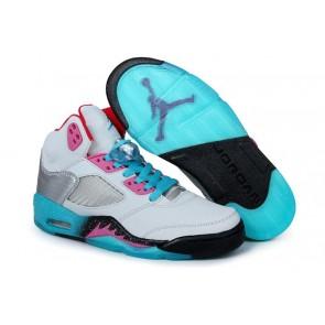 Femme Nike Air Jordan 5 Retro Blanc, Noir, Cyan Chaussures de sport