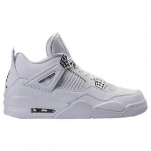 Blanc / Argent métallique / Platine pure Hommes Air Jordan Retro 4 Chaussure de basketball 308497 100