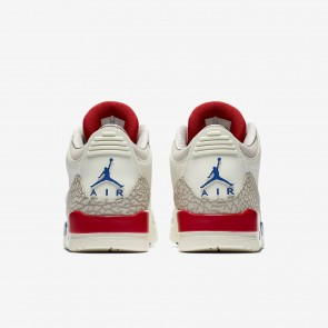 Air Jordan 3 Retro Voile/Lumière OS/Feu Rouge/Sport Royal Hommes Chaussures 136064-140