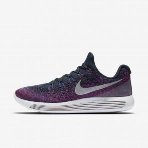 Hommes Nike LunarEpic Low Flyknit 2 Chaussures Noir, Bleu Royal Profond, Hyper Punch, Refléter l'argent 863779-015