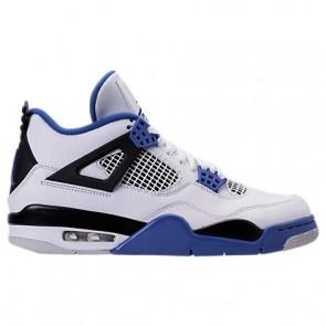 Hommes Air Jordan Retro 4 Chaussures de sport Blanc, Jeu Royal, Noir 308497 117