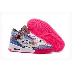 Air Jordan 3 Flower Rose, Blanc, Bleu, Marron Femmes Chaussures de course
