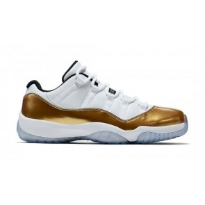 "Air Jordan 11 Retro Low ""Closing Ceremony"" Femme, Homme Blanc, Métallique Doré Coin, Noir 528895-103"