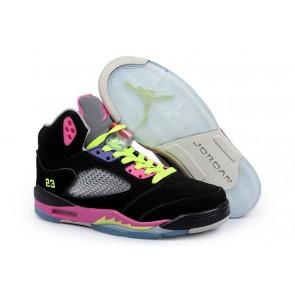Air Jordan 5 Retro Hommes Noir, Rose, Jaune Chaussures