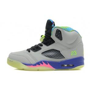 Homme Air Jordan 5 Retro Gris froid, Pourpre, Jeu Royal, Club Rose Chaussures de course