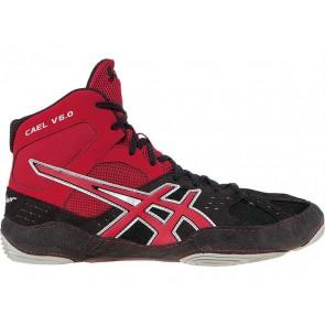 Asics Cael V6.0 - Hommes Chaussures de lutte ZD26Z Charbon / Rouge feu / Argent