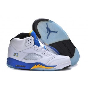 Homme Air Jordan 5 Retro Laney Blanc, Noir, Maïs Varsity Royal