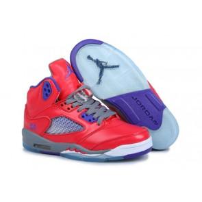 Nike Air Jordan 5 Retro Femme Chaussures de sport - Rouge / Pourpre / Gris