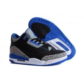 Homme Air Jordan 3 - Noir, Azure, Gris ardoise clair Chaussures de course