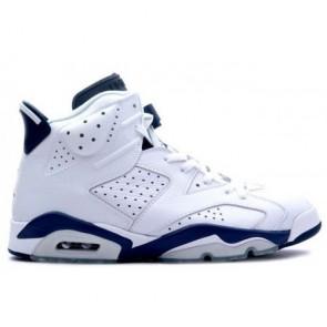 Hommes Air Jordan 6 (VI) Retro Blanc, La marine de minuit Chaussures de sport 136038-141